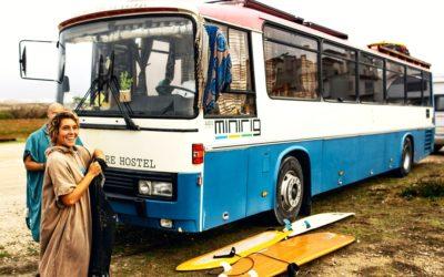 girl surf bus Peniche The Commodore Hostel